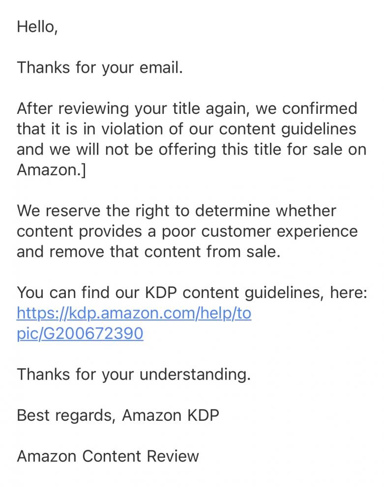 Email reply by Amazon regarding censored book